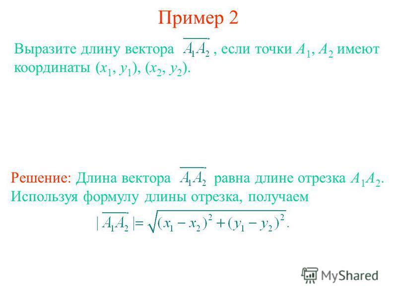 Пример 2 Выразите длину вектора, если точки А 1, А 2 имеют координаты (x 1, y 1 ), (x 2, y 2 ). Решение: Длина вектора равна длине отрезка А 1 А 2. Используя формулу длины отрезка, получаем