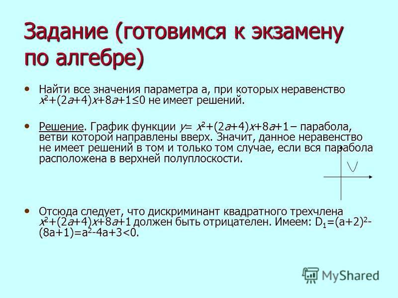 Задание (готовимся к экзамену по алгебре) Найти все значения параметра а, при которых неравенство х 2 +(2 а+4)х+8 а+10 не имеет решений. Найти все значения параметра а, при которых неравенство х 2 +(2 а+4)х+8 а+10 не имеет решений. Решение. График фу