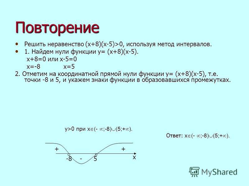 Повторение Решить неравенство (х+8)(х-5)>0, используя метод интервалов. Решить неравенство (х+8)(х-5)>0, используя метод интервалов. 1. Найдем нули функции y= (х+8)(х-5). 1. Найдем нули функции y= (х+8)(х-5). х+8=0 или х-5=0 х+8=0 или х-5=0 х=-8 х=5