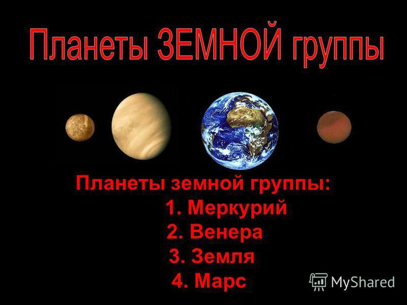 Планеты земной группы: 1. Меркурий 2. Венера 3. Земля 4. Марс