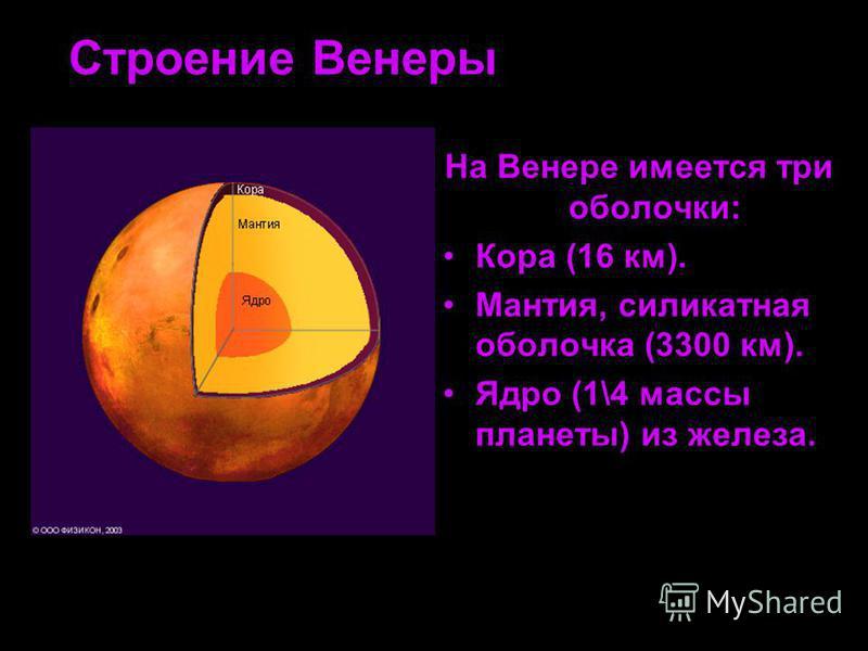 Строение Венеры На Венере имеется три оболочки: Кора (16 км). Мантия, силикатная оболочка (3300 км). Ядро (1\4 массы планеты) из железа.