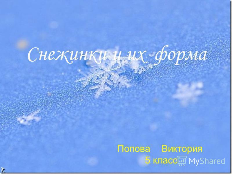 Снежинки и их форма Попова Виктория 5 класс