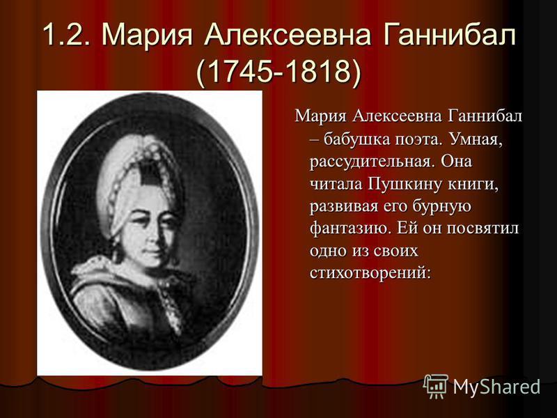 1.2. Мария Алексеевна Ганнибал (1745-1818) Мария Алексеевна Ганнибал – бабушка поэта. Умная, рассудительная. Она читала Пушкину книги, развивая его бурную фантазию. Ей он посвятил одно из своих стихотворений: Мария Алексеевна Ганнибал – бабушка поэта