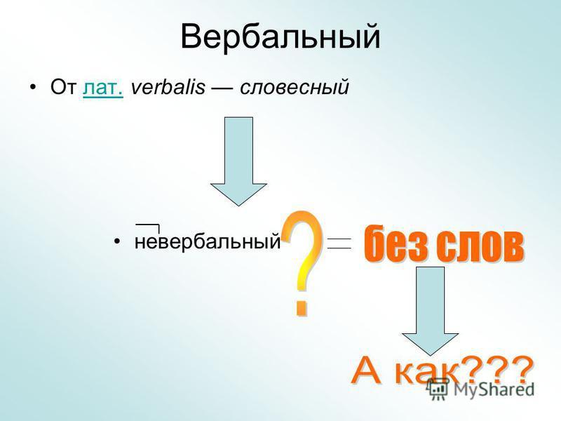 Вербальный От лат. verbalis словесный лат. невербальный