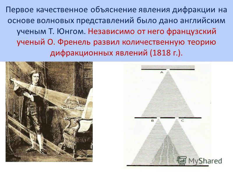 Первое качественное объяснение явления дифракции на основе волновых представлений было дано английским ученым Т. Юнгом. Независимо от него французский ученый О. Френель развил количественную теорию дифракционных явлений (1818 г.).