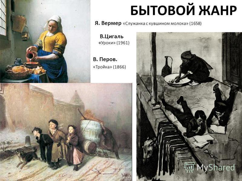 БЫТОВОЙ ЖАНР В. Перов. «Тройка» (1866) Я. Вермер «Служанка с кувшином молока» (1658) В.Цигаль «Уроки» (1961)