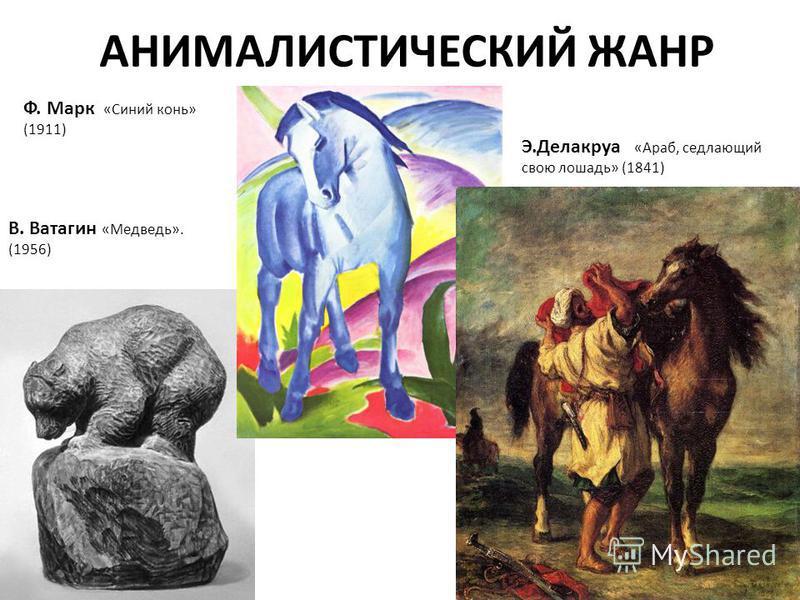 АНИМАЛИСТИЧЕСКИЙ ЖАНР В. Ватагин «Медведь». (1956) Ф. Марк «Синий конь» (1911) Э.Делакруа «Араб, седлающий свою лошадь» (1841)