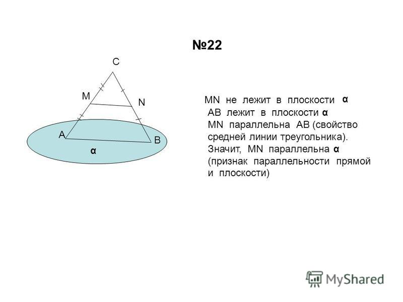 А В С М N MN не лежит в плоскости α α АВ лежит в плоскости α MN параллельна АВ (свойство средней линии треугольника). Значит, MN параллельна α (признак параллельности прямой и плоскости) 22