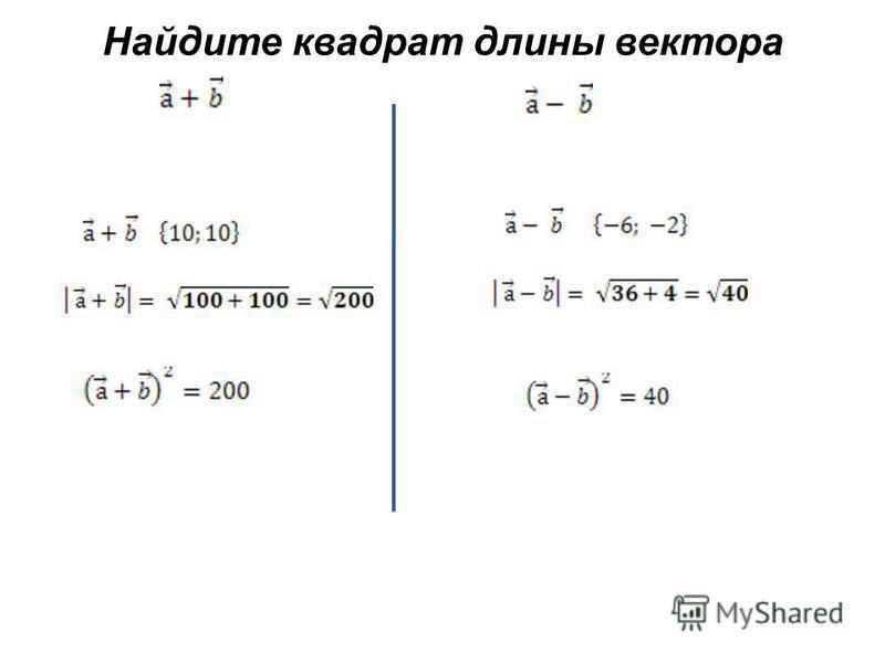 Найдите квадрат длины вектора