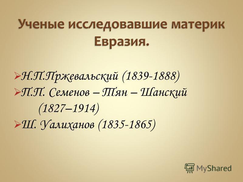 Н.П.Пржевальский (1839-1888) П.П. Семенов – Тян – Шанский (1827–1914) Ш. Уалиханов (1835-1865)