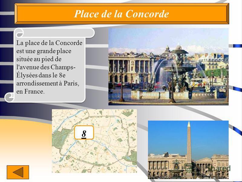 Place de lа Concorde La place de la Concorde est une grande place située au pied de l'avenue des Champs- Élysées dans le 8e arrondissement à Paris, en France. 8