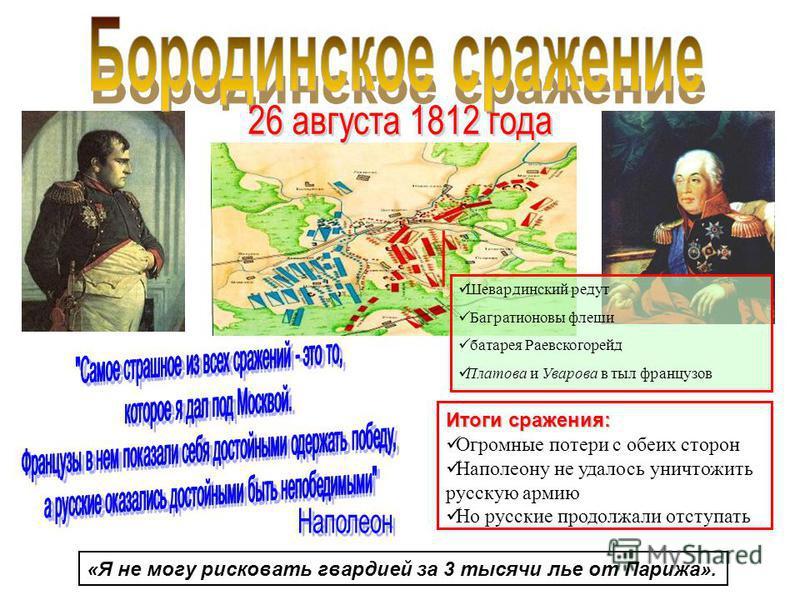 Итоги сражения: Огромные потери с обеих сторон Наполеону не удалось уничтожить русскую армию Но русские продолжали отступать «Я не могу рисковать гвардией за 3 тысячи лье от Парижа». Шевардинский редут Багратионовы флеши батарея Раевскогорейд Платова