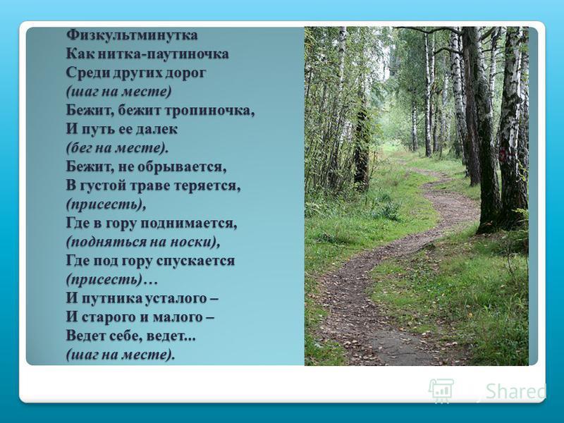 Физкультминутка Как нитка-паутиночка Среди других дорог (шаг на месте) Бежит, бежит тропиночка, И путь ее далек (бег на месте). Бежит, не обрывается, В густой траве теряется, (присесть), Где в гору поднимается, (подняться на носки), Где под гору спус