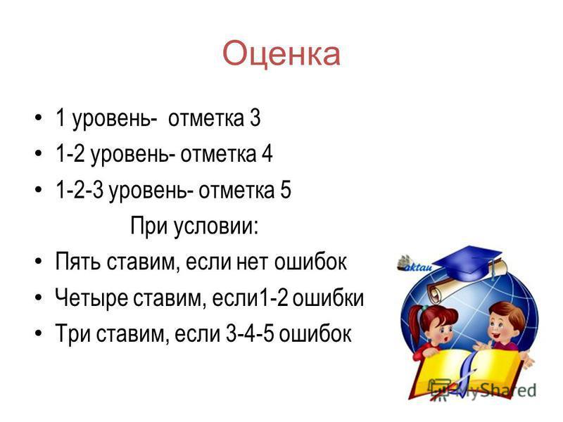 Оценка 1 уровень- отметка 3 1-2 уровень- отметка 4 1-2-3 уровень- отметка 5 При условии: Пять ставим, если нет ошибок Четыре ставим, если 1-2 ошибки Три ставим, если 3-4-5 ошибок