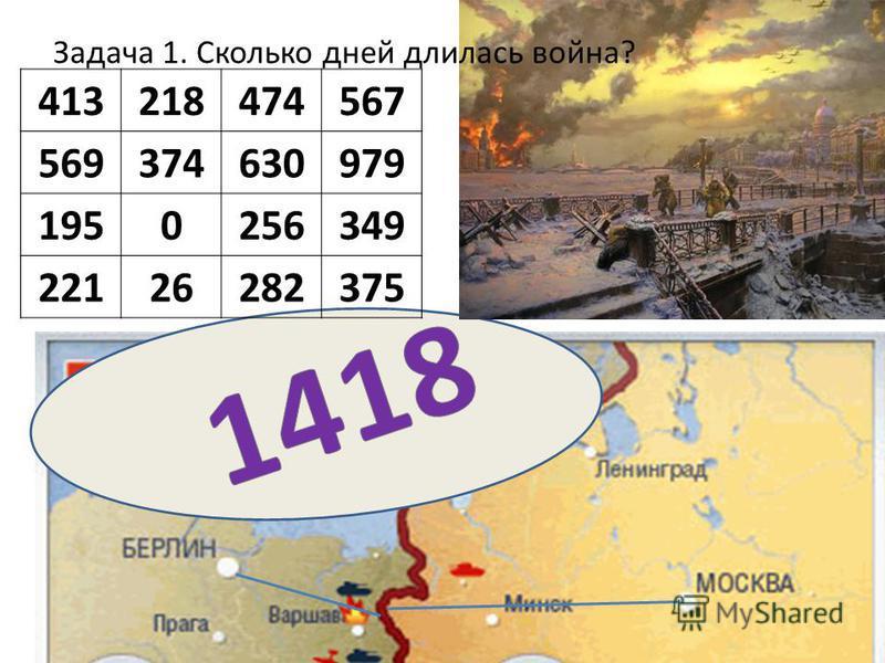 413218474567 569374630979 1950256349 22126282375 Задача 1. Сколько дней длилась война?