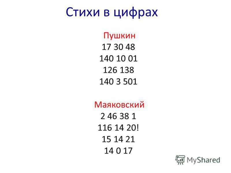 Cтихи в цифрах Пушкин 17 30 48 140 10 01 126 138 140 3 501 Маяковский 2 46 38 1 116 14 20! 15 14 21 14 0 17
