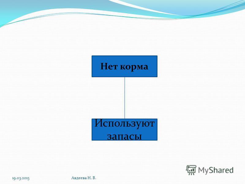19.03.2015Авдеева Н. В. Нет корма Используют запасы