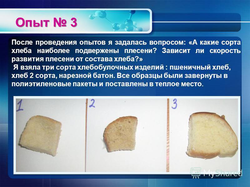Опыт 3 После проведения опытов я задалась вопросом: «А какие сорта хлеба наиболее подвержены плесени? Зависит ли скорость развития плесени от состава хлеба?» Я взяла три сорта хлебобулочных изделий : пшеничный хлеб, хлеб 2 сорта, нарезной батон. Все