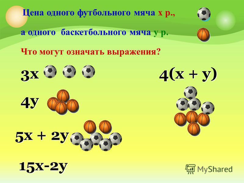 Цена одного футбольного мяча х р., а одного баскетбольного мяча у р. Что могут означать выражения? 3 х 4 у 5 х + 2 у 4(х + у) 15 х-2 у