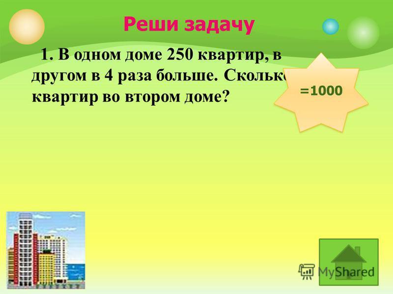 1. В одном доме 250 квартир, в другом в 4 раза больше. Сколько квартир во втором доме? =1000 Реши задачу