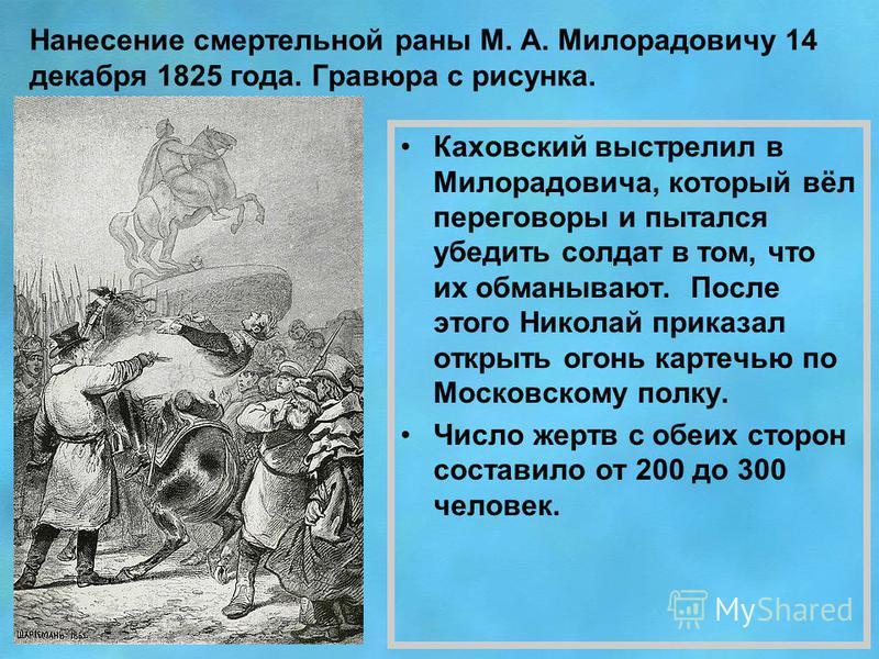 Нанесение смертельной раны М. А. Милорадовичу 14 декабря 1825 года. Гравюра с рисунка. Каховский выстрелил в Милорадовича, который вёл переговоры и пытался убедить солдат в том, что их обманывают. После этого Николай приказал открыть огонь картечью п