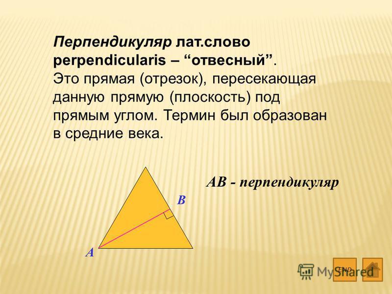 Перпендикуляр лат.слово perpendicularis – отвесный. Это прямая (отрезок), пересекающая данную прямую (плоскость) под прямым углом. Термин был образован в средние века. END A B AB - перпендикуляр