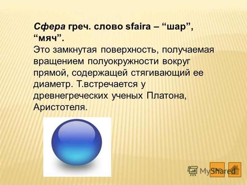 Сфера греч. слово sfaira – шар, мяч. Это замкнутая поверхность, получаемая вращением полуокружности вокруг прямой, содержащей стягивающий ее диаметр. Т.встречается у древнегреческих ученых Платона, Аристотеля. END