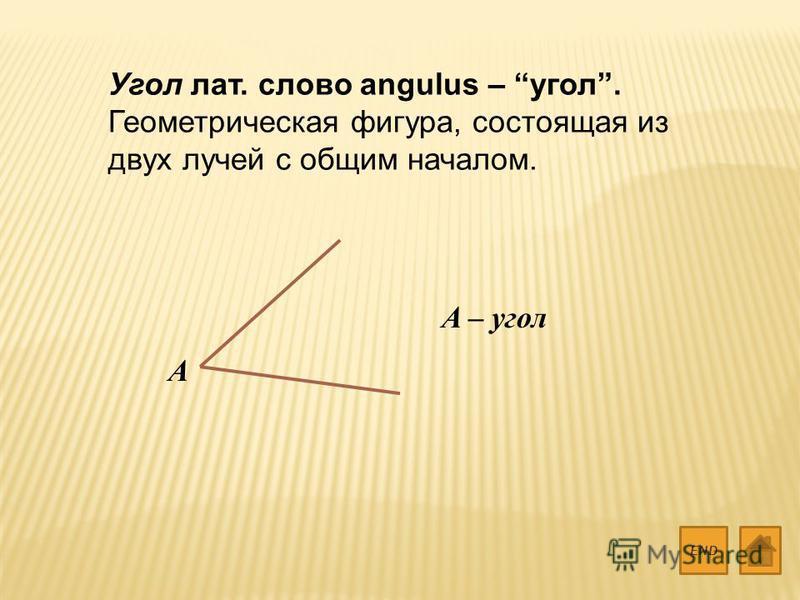 Угол лат. слово angulus – угол. Геометрическая фигура, состоящая из двух лучей с общим началом. END A A – угол