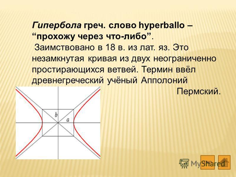 Гипербола греч. слово hyperballo – прохожу через что-либо. Заимствовано в 18 в. из лат. яз. Это незамкнутая кривая из двух неограниченно простирающихся ветвей. Термин ввёл древнегреческий учёный Апполоний Пермский. END