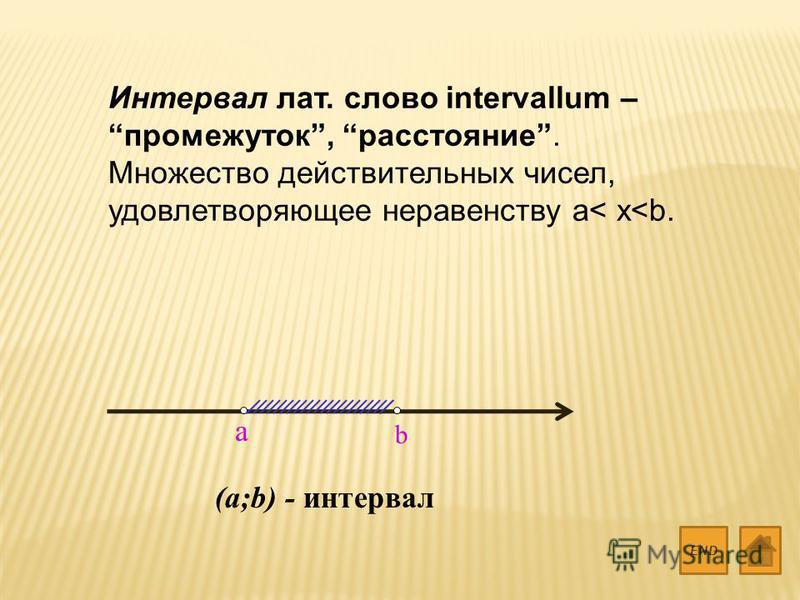 Интервал лат. слово intervallum – промежуток, расстояние. Множество действительных чисел, удовлетворяющее неравенству a< x