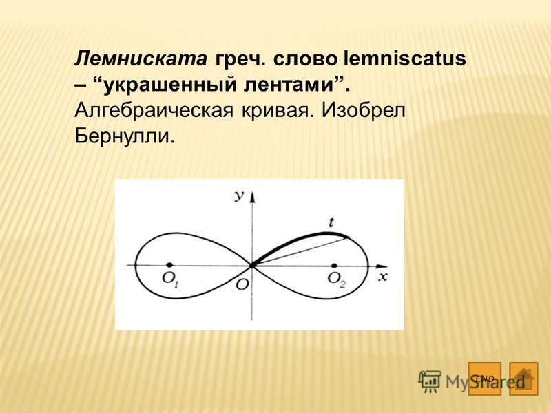 Лемниската греч. слово lemniscatus – украшенный лентами. Алгебраическая кривая. Изобрел Бернулли. END