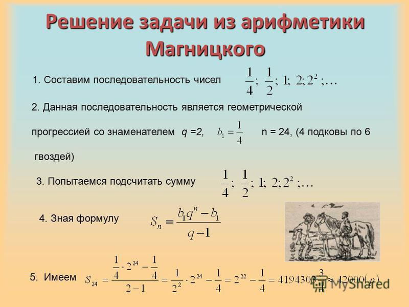 Решение задачи из арифметики Магницкого 1. Составим последовательность чисел 2. Данная последовательность является геометрической прогрессией со знаменателем q =2, n = 24, (4 подковы по 6 гвоздей) 3. Попытаемся подсчитать сумму 5. Имеем 4. Зная форму