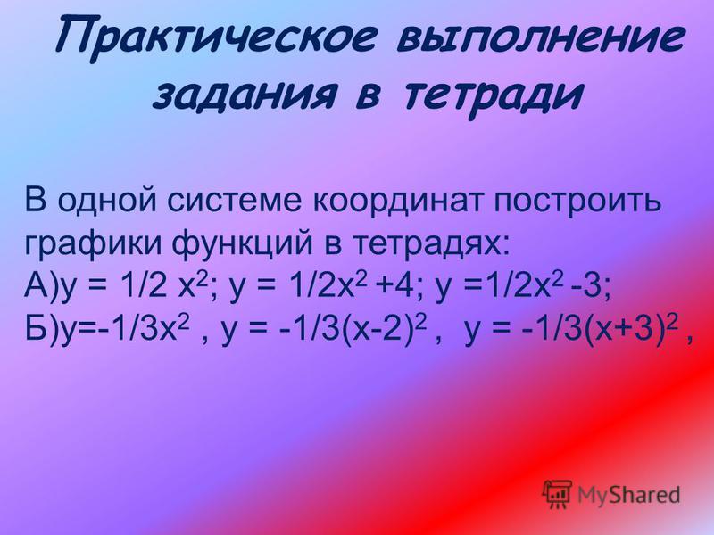 графики функций у ах в квадрате