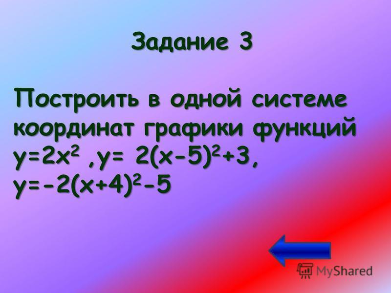 Задание 3 Построить в одной системе координат графики функций у=2х 2,у= 2(х-5) 2 +3, у=-2(х+4) 2 -5