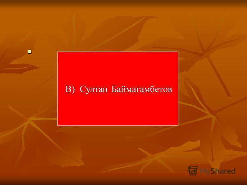 В) Султан Баймагамбетов