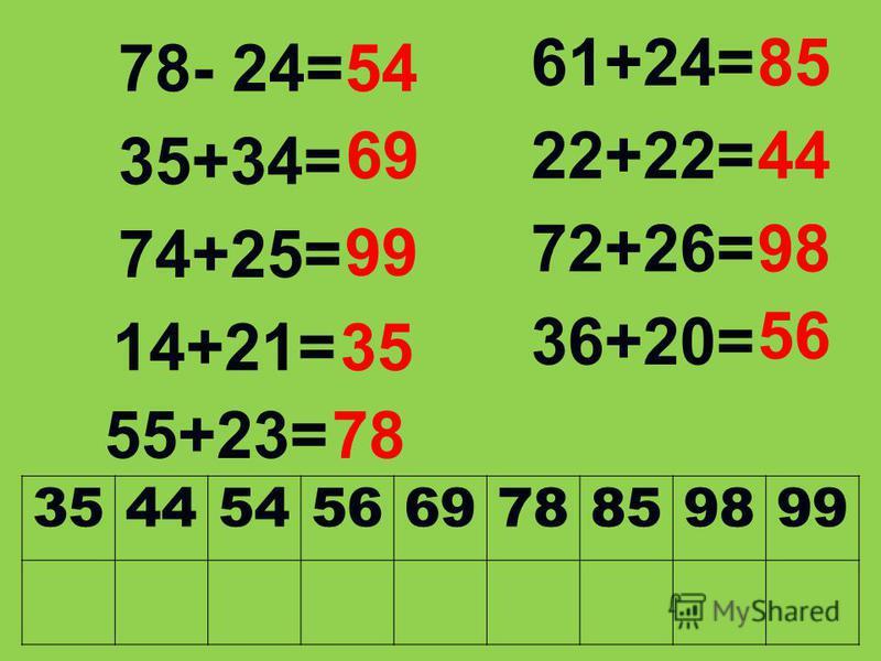 78- 24= 35+34= 74+25= 14+21= 61+24= 22+22= 72+26= 36+20= 55+23= 54 69 99 35 85 44 98 56 78 354454566978859899