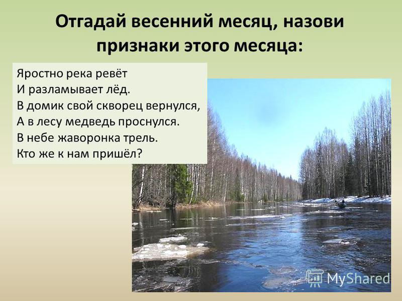 Отгадай весенний месяц, назови признаки этого месяца: Яростно река ревёт И разламывает лёд. В домик свой скворец вернулся, А в лесу медведь проснулся. В небе жаворонка трель. Кто же к нам пришёл?