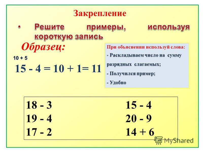 Образец: 15 - 4 = 10 + 1= 11 При объяснении используй слова: - Раскладываем число на сумму разрядных слагаемых; - Получился пример; - Удобно 18 - 3 15 - 4 19 - 4 20 - 9 17 - 2 14 + 6 Закрепление
