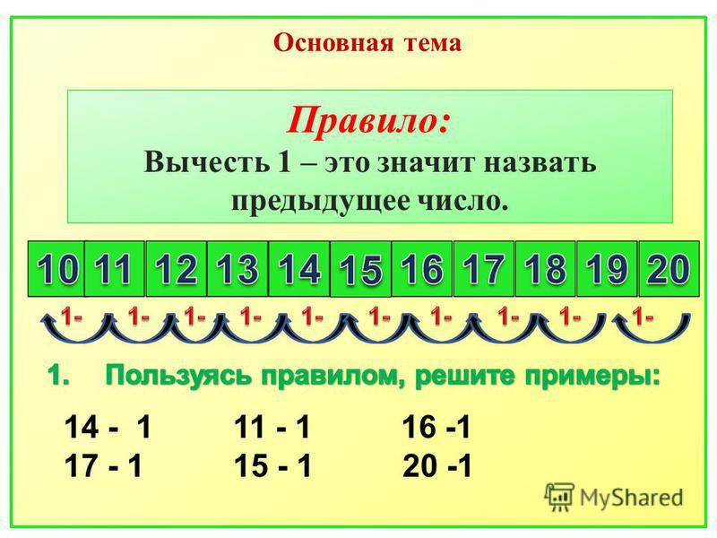 Правило: Вычесть 1 – это значит назвать предыдущее число. 14 - 1 11 - 1 16 -1 17 - 1 15 - 1 20 -1 Основная тема
