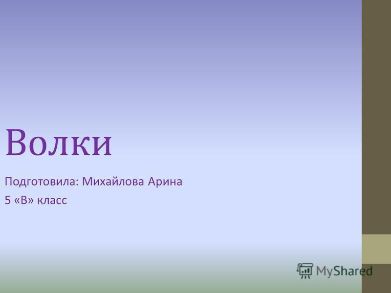 Волки Подготовила: Михайлова Арина 5 «В» класс