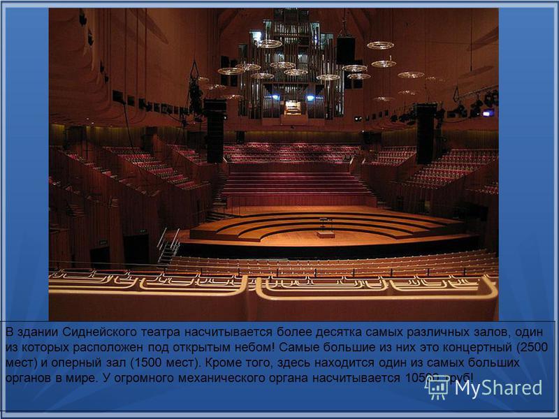 В здании Сиднейского театра насчитывается более десятка самых различных залов, один из которых расположен под открытым небом! Самые большие из них это концертный (2500 мест) и оперный зал (1500 мест). Кроме того, здесь находится один из самых больших