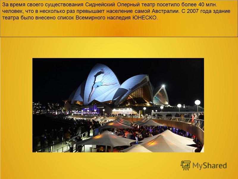 За время своего существования Сиднейский Оперный театр посетило более 40 млн. человек, что в несколько раз превышает население самой Австралии. С 2007 года здание театра было внесено список Всемирного наследия ЮНЕСКО.