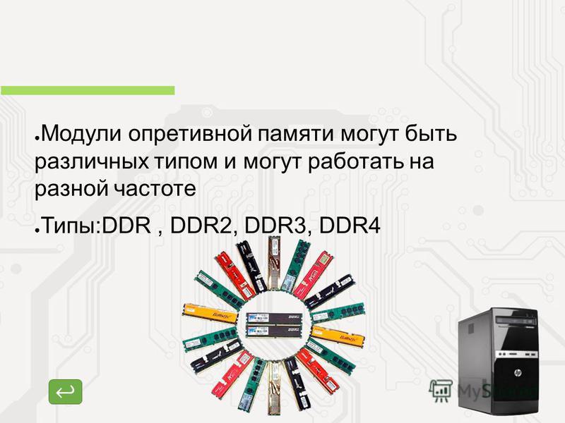 Модули оперативной памяти могут быть различных типом и могут работать на разной частоте Типы:DDR, DDR2, DDR3, DDR4 Оперативная память