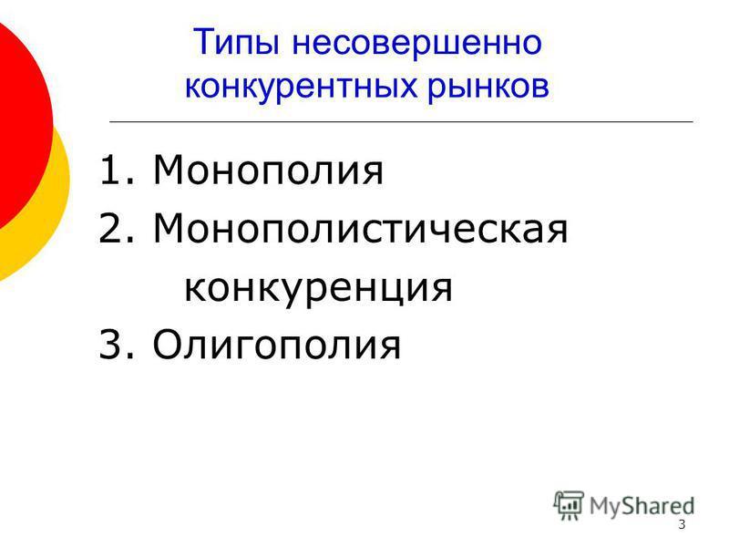 Типы несовершенно конкурентных рынков 1. Монополия 2. Монополистическая конкуренция 3. Олигополия 3