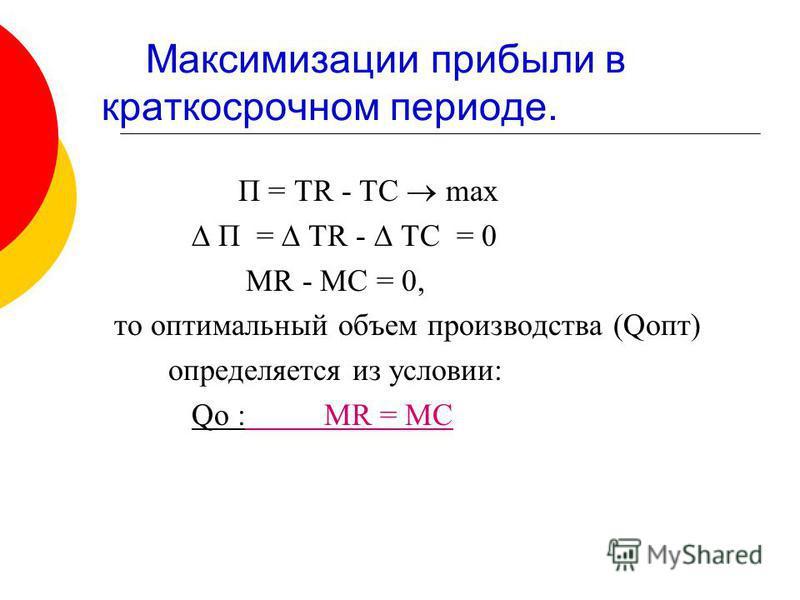 Максимизации прибыли в краткосрочном периоде. П = TR - TC max П = TR - TC = 0 MR - MC = 0, то оптимальный объем производства (Qопт) определяется из условии: Qо : MR = MC
