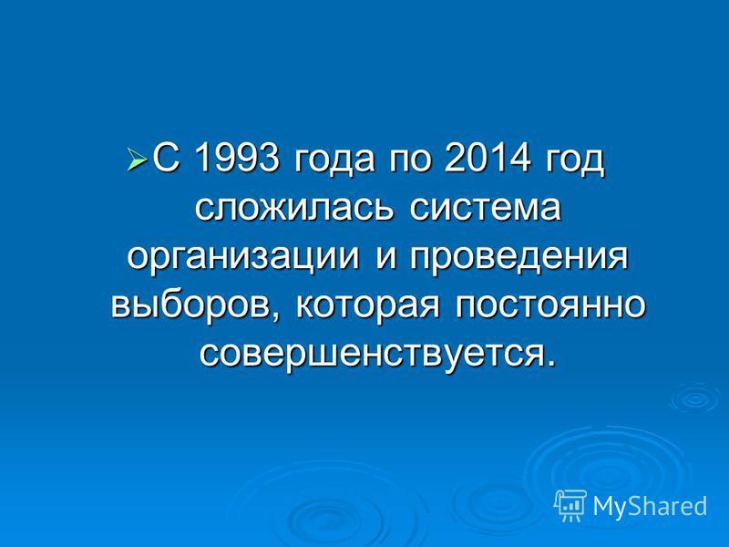 С 1993 года по 2014 год сложилась система организации и проведения выборов, которая постоянно совершенствуется. С 1993 года по 2014 год сложилась система организации и проведения выборов, которая постоянно совершенствуется.