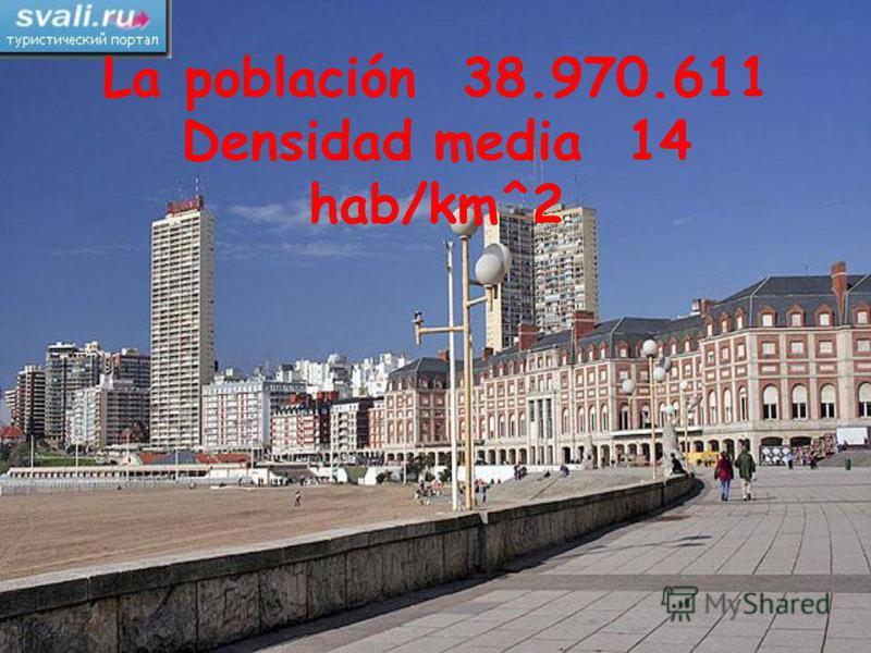 La población 38.970.611 Densidad media 14 hab/km^2