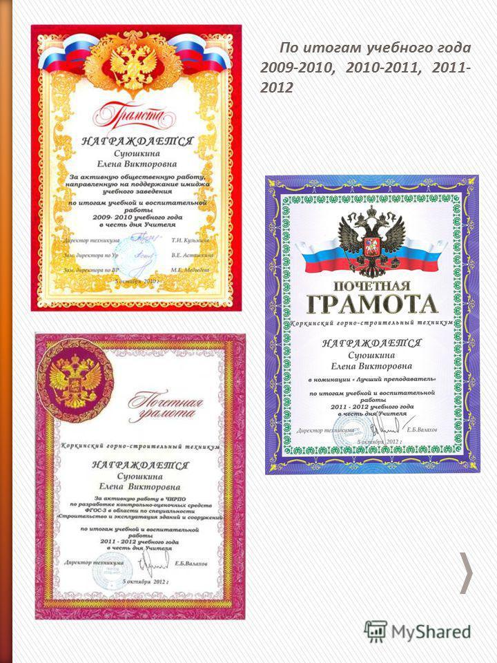 По итогам учебного года 2009-2010, 2010-2011, 2011- 2012