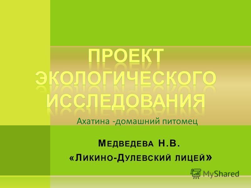 Ахатина -домашний питомец М ЕДВЕДЕВА Н.В. «Л ИКИНО -Д УЛЕВСКИЙ ЛИЦЕЙ »