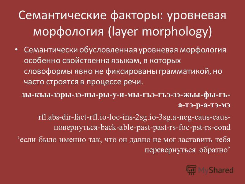 Семантические факторы: уровневая морфология (layer morphology) Семантически обусловленная уровневая морфология особенно свойственна языкам, в которых словоформы явно не фиксированы грамматикой, но часто строятся в процессе речи. зы-къы-зары-зэ-пы-ры-